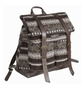 Stetson Western Brown Wool & Leather Backpack Bag