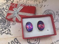 FATHERS DAY  DAD MEXICAN FIRE OPAL DRAGONS BREATH SILVER PLATE CUFFLINKS MOM