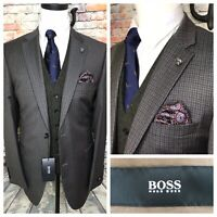 Hugo Boss Paolini Brown Gray Super 130s Wool Sport Coat Jacket Mens Size 44 Long