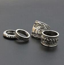 4PCS/Set Silver Vintage Elephant Finger Ring Above Knuckle Rings Boho Fashion