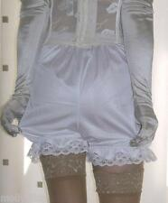 Vintage inspired white silky nylon gusset frilly bloomer french knickers panties