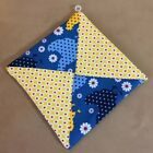 Pot Holder, Patchwork, Triangles, Hand Made, Chicken Print, Flowers, Dots