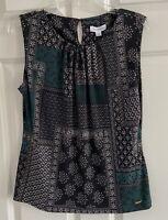 CALVIN KLEIN Floral Print Sleeveless Tank Top Blouse Women's Size Large NWT NEW