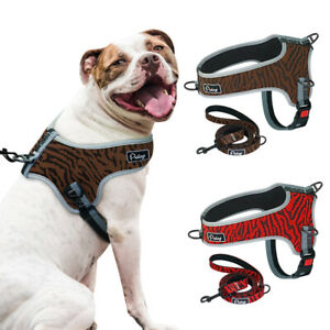 Mesh Padded Dog Cheat Harness and Lead Set Reflective Medium Large Dogs Harness