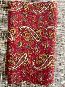 """POTTERY BARN RED PAISLEY TABLE RUNNER 18"""" X 70"""" COTTON India"""
