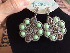 Fabienne Designer Womens Large Green Crystal Velvet Flower Stud Earrings - NEW