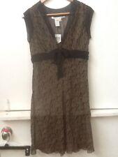 Max Studio Petite 100% Silk Empire Waist Sheer Black Tan DRESS Sleeveless SP NWT