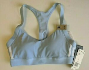 Adidas All Me 3 Stripe Sports Bra, Glow Blue, Women's Small