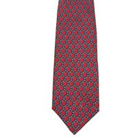 HERMES Tie 939 IA Red/Blue/Gray Chain Links 100% Silk Necktie Made in France