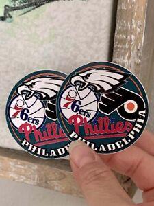 2x Philadelphia Sports Teams 76ers Eagles Flyers Vinyl Decals Stickers