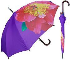"46"" Purple w/Large Flower Print, Auto Umbrella-RainStoppers Rain/Sun UV Fashion"
