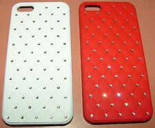 Lot of 2 hard shell Bling cases for Apple iPhone 5/5s/SE, 1 red & 1 white, NEW