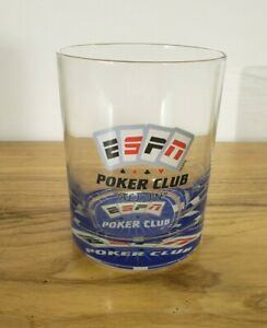 ESPN Poker Club Playing Cards Glasses Liquor Tumblers New Condition