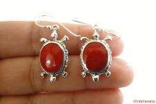 Fossil Red Coral Turtle Tortoise 925 Sterling Silver Dangle Earrings