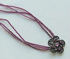 Fashion Amethyst Glass Seed Bead & Amethyst Rhinestone Flower Pendant Necklace