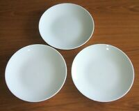 "CRATE & BARREL ELEMENTS 8"" SALAD PLATES 3PC ALL WHITE COUPE DISCONTINUED CHINA"