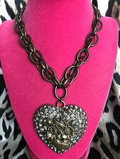 Betsey Johnson Black Label HUGE Gray Crystal Tattoo Heart XOX 4 EVER Necklace