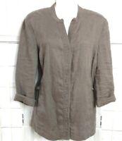 Madison Hill Jacket Linen Women Size L Lagenlook Mandarin Collar Pockets Brown