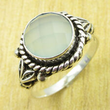 Aqua Chalcedony ART Ring Size P 1/2 ! Silver Plated Fashion Jewelry
