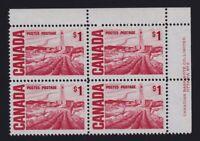 Canada Sc #465Biv (1967) $1 Centennial Pl. 2 UR Plate Block  MF PVA Gum Mint NH
