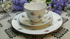 """Crown Staffordshire Teacup Saucer & 8 1/4"""" Tea Plate Bouquets of Spring Blooms"""