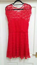 Asos red lace sweetheart skater dress 14 16 BNWT