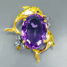 Top Color 40ct+ Natural Amethyst 925 Sterling Silver Brooch /NB05230