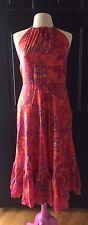 LAUREN RALPH LAUREN Silk Halter Dress Size 8 ORANGE/pink Paisley Gold Necklace