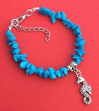 Women's Teen Girls NEW Chip & Charm Bead Gemstone Bracelet Blue - Aussie Seller