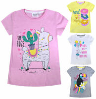Girls T-shirt Glitter Print Kids New Party Summer Cotton Top Age 2 3 4 5 6 Years