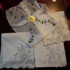 4 Vintage handkerchief embroidered   pullwork etc  Wedding  bridal