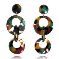 Acrylic Circular Earrings Long Drop Dangle Earrings Pendant Earrings Jewelry JP