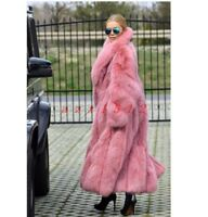 Luxury Womens Full Length Long Fox Fur Outdoor thicken warm trench coat Parkas