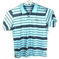 Columbia Omni-Shade Men's Blue Short Sleeve Polo Striped Shirt Size XL