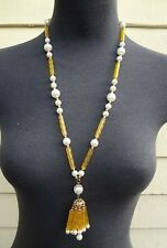 Vintage NOS YELLOW / Pearl Pendant Chain NECKLACE