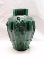 Art Deco Desna Bohemian Czech Glass Vase Malachite Green Ingrid Schelvogt 1930s