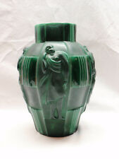 Art Deco Style Bohemian Czech Republic Glass Vase Malachite Green Heavy Huge
