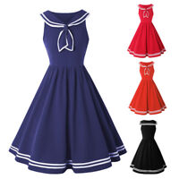 Womens Vintage 50s Sailor Collar Rockabilly Evening Party Pinup Swing Dress