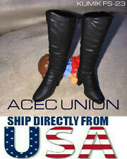 KUMIK 1/6 Black Widow Catwoman Black Long Boots For Phicen Female Figure U.S.A.