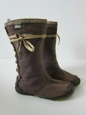 Simple Brown Cotton Lace Up Moccasin Boot Women Size 6.5