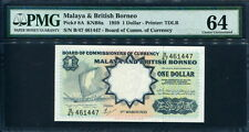 Malaya & British Borneo 1959, 1 Dollar, 461447, P8A, PMG 64 UNC
