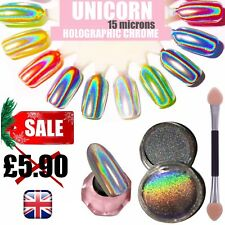 Espejo De Efecto Holográfico polvo de uñas de Unicornio Holo Cromo Cuñas pigmento 15 µ! Q15