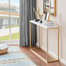 Console Table Faux Marble Top Gold Metal Leg Sofa Table for Hallway Entryway