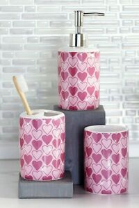 Valentine Hearts 3 Piece Sink Set Soap Lotion Pump Toothbrush Holder Tumbler NEW