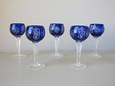Czech Bohemian Cobalt Blue Cut to Clear Liquor Cocktail Glasses Set of 5 Faceted