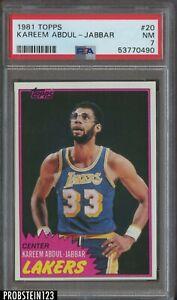 1981 Topps Basketball #20 Kareem Abdul-Jabbar Los Angeles Lakers HOF PSA 7 NM