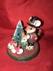 Yankee Jar Candle Topper Night Before Christmas Mice Mouse in Top Hat Nuts Tree