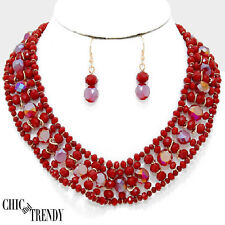 STUNNING CHUNKY RED BEADED NECKLACE JEWELRY SET CHIC & TRENDY ACCESSORIES