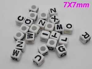 """200 White with Black Assorted Alphabet Letter Cube Pony Beads 7X7mm(0.28"""") Craft"""