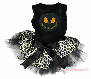 Halloween Nightmare Christmas Jack Black Leopard Skirt One Piece Pet Dog Dress